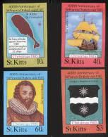 ST.KITTS 1985 CPTN DRAKE / CHRISTMAS Imperf=nonDENTELE SC#173-76 MNH SHIPS PIRATES - Christmas