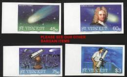 ST.VINCENT 1986 HALLEY´S COMET Imperf LARGE MARGINS SC#918-21 CV$18.00 SPACE ASTRONOMY - Space