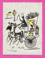 Carte 2 Volets - Papier Gaufré - Calèche En Relief Et Colorisé - Carte Dentelé - Taxi & Carrozzelle