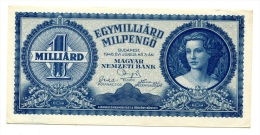 Hongrie Hungary Ungarn 1000000000 MilPengo 1946 AUNC / UNC # 4 - Hongrie