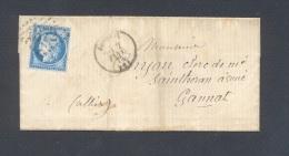 ALLIER 03 EBREUIL Tad Type 16 Du  2 Janvier 1875 GC 1372 Sur N° 60   TB - Poststempel (Briefe)