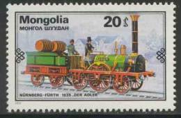 "Mongolia Mongolie 1979 Mi 1235 YT 1028 ** Locomotive ""Adler"" – Nürnberg-Fürth (1835), Germany / Dampflokomotive - Treinen"