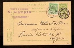 Carte Postal De (est Avec Une Timbre) Nr. 83  18/5/1910  G. SIMONIS De CHARLEROI à LYON (FRANCE)  ! - Entiers Postaux