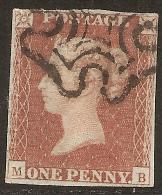 Grande-Bretagne (GB) Victoria 1841 - Penny Rouge Planche 20 MB - Oblitérés