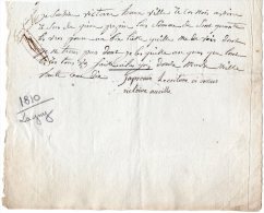 VP175 - LAGNY 1810 - Reçu Victoire AUVILLE De La Famille De Louis BRAILLE - Manuscrits