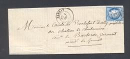 ALLIER 03 GANNAT Tad 17  Du 1 Décembre 1874 GC 1621 Sur N° 60  TTB (rare Tad 17 CHARROUX Verso) - Storia Postale