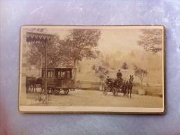 BELLE PHOTO XIXeme : CHAMBERY ATTELAGE FIACRE OMNIBUS CHALLES-LES-EAUX 73 SAVOIE Tramway - Photographs
