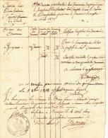 PIERREFONTAINE - DOUBS -BORDEREAU DE TRAVAIL DU CONTROLEUR DU CANTON -1807 - Cachets Généralité