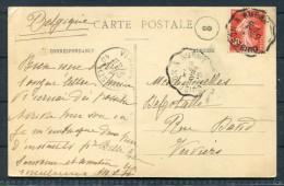 France 1910 - Hotel Penthievre Postcard To Belgium - Railroad Cancel Quiberon à Auray - Covers & Documents