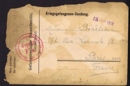 1918  Kriegsgefangenen-Sendung Vom Lager Schneidemühl Nach Paris - Deutschland
