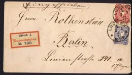 1877 Einschreiben Brief Vom Lübeck Nach Berlin MiNr 33, 34 - Deutschland