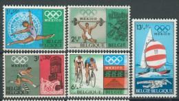 BL1-61 BELGIUM 1968 YV 1456-1460 SPORT, OLYMPICS MEXICO 1968, TURNEN, SAILING, ATHLETICS, CYCLING MNH, POSTFRIS, NEUF**. - Zomer 1968: Mexico-City