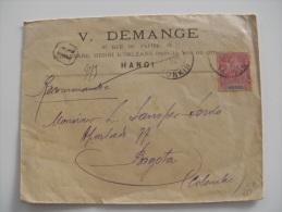 LETTRE  RECOMMANDEE DE HANOI AVEC TYPE GROUPE 50ç  ADRESSEE EN COLOMBIE 1904 COVER - Indochine (1889-1945)