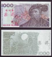 (Replica)China BOC Bank Training/test Banknote,SVERIGES RIKSBANK Sweden 1000 Kronor Note Specimen Overprint,used - Sweden