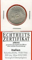*** 500 Lira / Lire 1960 *** Certificado / COA - PLATA SILVER SILBER AG Columbus - KM 98 - Italia / Italy / Italien - 1946-… : República