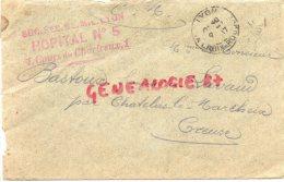 23- CHATELUS LE MARCHEIX- FRANCOIS BASTOUX A LAVAUD- CACHET HOPITAL MILITAIRE TEMPORAIRE N° 5 LYON-1917 CROIX ROUSSE - France