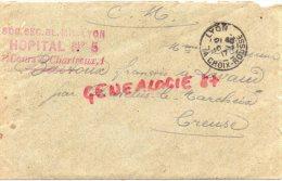 23- CHATELUS LE MARCHEIX- LETTRE HOPITAL MILITAIRE TEMPORAIRE N°5 LYON CROIX ROUSSE-M.BASTOUX A LAVAUD-1917 - France