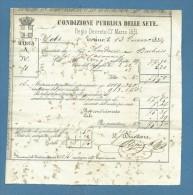 1852 CONDIZIONE PUBBLICA DELLE SETE R.DECRETO 17 MARZO 1851 - TORINO - BOLLA MATASSE SETA SOTTO ESPERIMENTO - Italia