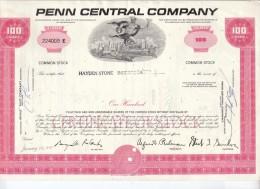 Penn Central Company 100 Shares 19-1-1970: With Thema: Train, Car, Airplane - Aandelen