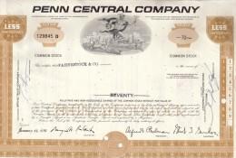 Penn Central Company  70 Shares 14-1-1970: With Thema: Train, Car. Airplane - Aandelen