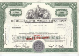 The Reliance Electric And Engineering Company 100 Shares 10-6-1969: With Thema: Train, Car. Airplane - Aandelen
