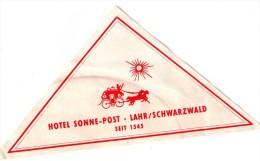 étiquette  HOTEL SONNE-POST, LAHR/SCHWARZWALD, Seit 1545,carosse Et Soleilt - Hotel Labels