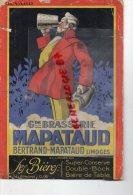 87 - LIMOGES - TRES RARE BUVARD GRANDE BRASSERIE MAPATAUD- BERTRAND MAPATAUD -BIERE SUPER CONSERVE- DOUBLE BOCK- - Food