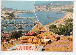 REF 148 : CPSM CANNES Pin Up Sur La Plage Seins Nus - Pin-Ups