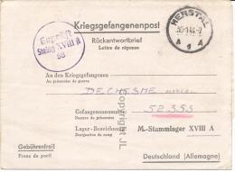 Kriegsgefangenenpost Prisonnier Stalag XVIII A Wolfsberg Österreich + Censure,départ De Herstal 1944 - Guerra '40-'45