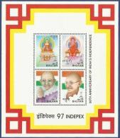 Bhutan 1997 MNH MS Indepex '97, Mahatma Gandhi, Philospher, Buddha, Buddhism, Miniature Sheet India - Bhutan