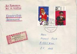 1167j: DDR 1984, Theaterpuppen, Portogerechte Bedarfspost Reko- Rückschein (RR) Nach Österreich - Puppen