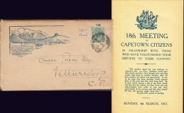 SOUTH AFRICA: 1917, 18th MEETING Of CAPETOWN CITIZENS Pub SUNDAY SERVICES COMMITTEE - 1914-18