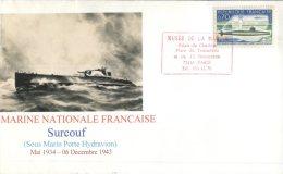 (303) French Navy Submarine Surcouf Cover - Cancel At Paris Musée De La Marine - - Militaria