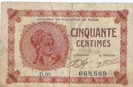 Chambre De Commerce De Paris/Cinquante Centimes/1920        BIL96 - Chamber Of Commerce
