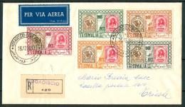 1953 28 Dic Somalia AFIS Aerogramma Racc.da Mogadiscio Per Trieste Affranc.con Serie Cpl,50°Primi Francobolli Di Somalia - Somalia (AFIS)