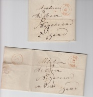 PRECURSEUR LOT DE 2 - HAL 1842 - POUR GAND A VOIR - 1830-1849 (Belgique Indépendante)