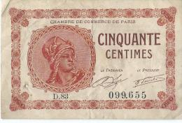 Chambre De Commerce De Paris/Cinquante Centimes/1920        BIL97 - Handelskammer