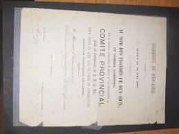 COMMUNE DE BEN AHIN - 23 JUIN 1881 - REMERCIEMENTS DU CONSEIL COMMUNAL AU NOM DES INONDES A MR CONSTANT - Documents Historiques