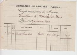 FACTURE FLEURUS 1913 DISTILLERIE DU PROGRES A VOIR - Belgique