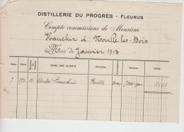 FACTURE FLEURUS 1913 DISTILLERIE DU PROGRES A VOIR - Belgium