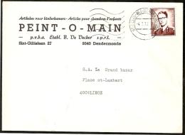 1068A Sur Lettre, Obl. St Gillis Bij Dendermonde (mechanique) - 1953-1972 Bril