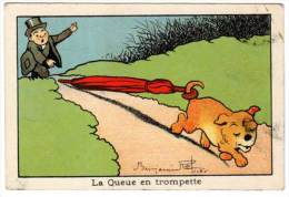 Chromo Signée Benjamin Rabier, Chien, Parapluie - Trade Cards