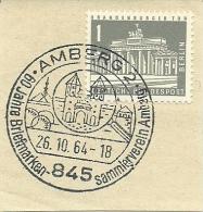 BRD Briefstuck Sonderstempel AMberg 60 Jahre Briefmarken Sammlerver  26/10/1964 Castle - Marcofilie - EMA (Printmachine)