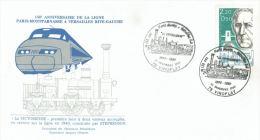 """France FDC.: Locomotive """"La Victorieuse"""" De Stephenson Et 150 Ans Paris-Montparnasse > Versailles R.G. - Treinen"""