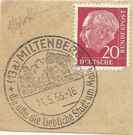 BRD Briefstuck Sonderstempel Miltenberg, Die Alyte, Die Liebliche Stadt Am Main  11/5/1956 - Marcofilie - EMA (Printmachine)