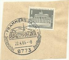 BRD Briefstuck SonderstempelFrammersbach 8773 Ferieninsel Hochspessort  22/4/1965 - [7] West-Duitsland