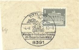 BRD Briefstuck Sonderstempel Tittling 8391 Wandern-Freibaden-Tennis Im Bayerrischen Wald  4/8/1965 - [7] West-Duitsland