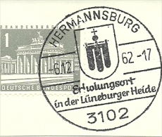 BRD Briefstuck Sonderstempel Hermannburg 3102 Erholungsort In Der Luneburger Heide  6/12/1962 - [7] West-Duitsland