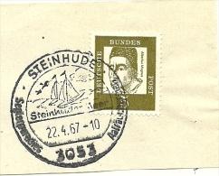 BRD Briefstuck Sonderstempel  Steinhude 3053 Steinhutermeer  22/4/1967 Sailing Ship - [7] West-Duitsland