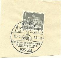 BRD Briefstuck Sonderstempel Wetter 3552 Ferienparadies Burgwald Im Marburger Land 15/3/1966 - Marcofilie - EMA (Printmachine)
